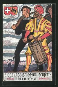 Künstler-AK Bern, Eidgenössisches Schützenfest 1910, Trommler