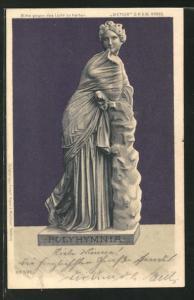 Lithographie Statue Polyhymnia, Halt gegen das Licht: rötlicher Schimmer