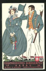 Künstler-AK Aarau, Eidgenössisches Schützenfest 1924, Schütze grüsst eine Dame