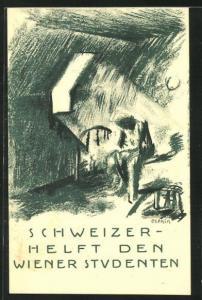 Künstler-AK Aufruf Schweizer helft den Wiener Studenten