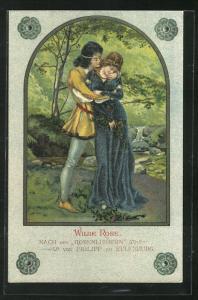 Künstler-AK Wilde Rose, nach den Rosenliedern von Philipp zu Eulenburg