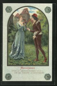 Künstler-AK Monatsrose, nach den Rosenliedern von Philipp zu Eulenburg