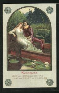 Künstler-AK Wasserrose, nach den Rosenliedern von Philipp zu Eulenburg