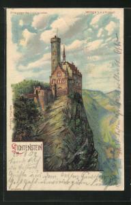 Lithographie Blick auf Schloss Lichtenstein, Halt gegen das Licht: Abendlicht