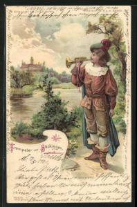 Lithographie Trompeter von Säckingen am Flussufer, Halt gegen das Licht: Abendstimmung