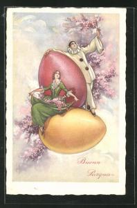 AK Buona Pasqua, Ostereier und Pierrot, Harlekin