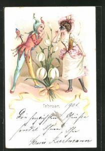 Lithographie Februar, kleiner Narr und Dame mit Maske, Fsching, Maskenball