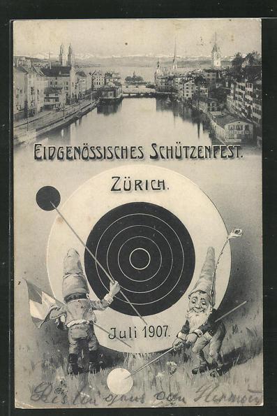 AK Zürich, Eidgenöss. Schützenfest 1907, Zwerge 0