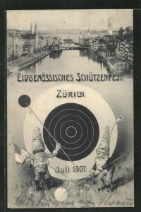 AK Zürich, Eidgenöss. Schützenfest 1907, Zwerge
