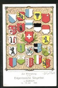 AK Zürich, Eidgenöss. Sängerfest 1905, Wappen