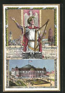 Künstler-AK Alfr. Block: Frankfurt a. Main, III. Wettstreit Deutscher Männergesangvereine 1909