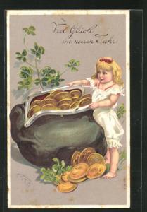 Präge-Lithographie Viel Glück im neuen Jahr, Mädchen mit Portemonnaie voller Münzen