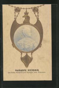 Präge-AK Kaiserin Auguste Victoria Königin von Preussen, Halbportrait auf Medaille