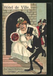 AK Schmächtiger Bräutigam trägt seine korpulente Frau ins Rathaus, frauenfeindlicher Humor