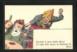 AK Lasciami in pace, brutta sbirra!..., alte Frau zieht trinkenden Mann die Ohren lang