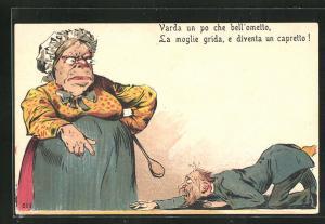 AK Varda un po che bell`ometto..., Mann kriecht vor einer alten Frau mit Kochlöffel