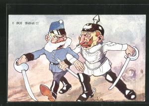 AK I Due Babau!, Kaiser Franz Josef I. von Österreich und Kaiser Wilhelm II.