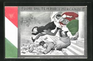 AK Fuori dal Tempio i Mercanti!, Kaiser Franz Josef I. von Österreich, Propaganda Entente