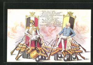 AK Amico, non ti pare..., Kaiser Franz Josef I. von Österreich und Kaiser Wilhelm auf wackeligen Stühlen