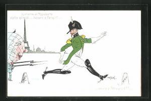 Künstler-AK Il ritorno di Napoleone..., Globus mit Bajonet, Kaiser Wilhelm II. als Napoleon, Propaganda Entente