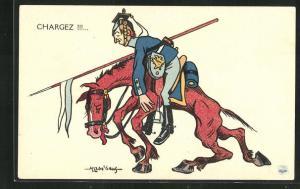 Künstler-AK Chargez!!!..., Kavallerist auf klapprigem Gaul, Propaganda Entente