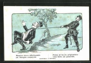 Künstler-AK Mentre stava effettuando un bisogno corporale..., Propaganda Entente
