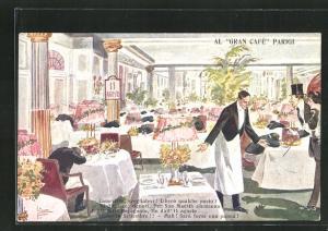 Künstler-AK Al Gran Café Parigi, Kellner im Restaurant, Propaganda Entente
