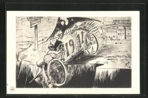 Künstler-AK deutsche Soldaten im Kriegsauto 1914, Propaganda Entente