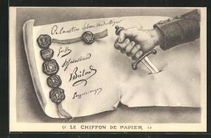 Künstler-AK Le Chiffon de Papier, Propaganda Entente