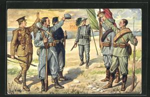 Künstler-AK Soldaten der Entente begrüssen sich