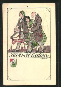Künstler-AK St. Gallen, Studentenwappen K.T.V. St. Gallen