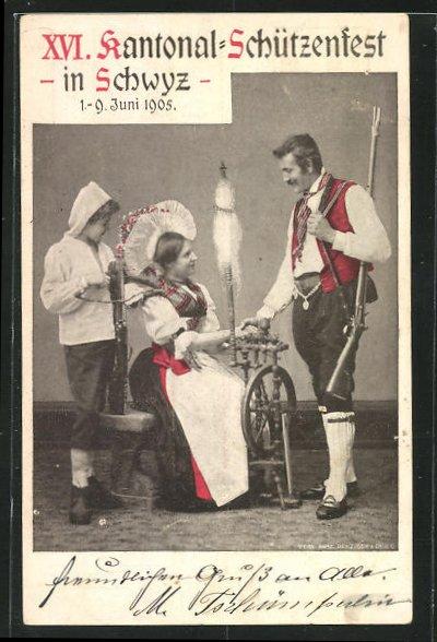 AK Schwyz, XVI. Kantonal Schützenfest 1905, Schütze und Dame am Spinnrad 0