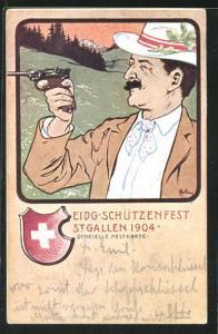 Künstler-AK St. Gallen, Eidg. Schützenfest 1904