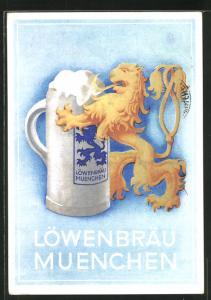 Künstler-AK Brauerei-Werbung Löwenbräu München