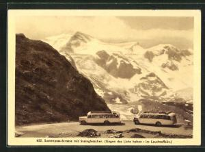 AK Sustenpass-Strasse mit Steingletscher, Halt gegen das Licht