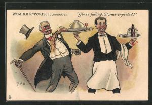 AK Kellner lässt ein Glas vom Tablett fallen und trifft einen eleganten Herrn, Glass falling, Storms expected