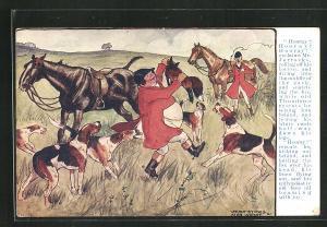 AK Hunde tummeln sich um den Reiter, der den erlegten Fuchs hochhält, Jagd