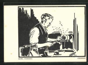 AK Chesham, Bowl Turning, Handwerker an seinem Arbeitsgerät