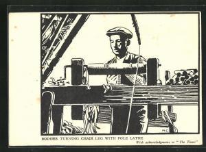 AK Mann bei der Bearbeitung eines Stuhlbeines, Handwerk, Bodger turning chair leg with pole lathe