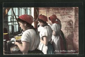 AK Sheffield, Metal Buffers, Frauen an ihren Arbeitsgeräten, Handwerk