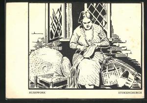 AK Stokenchurch, Rushwork, Frau bei der Heimarbeit
