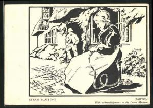 AK Barton, Straw Plaiting, Frau bei der Heimarbeit vor dem Haus