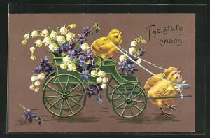 AK The state coach, Osterküken ziehen einen Wagen mit Blumen