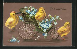 AK The invalid, Osterküken ziehen einen Wagen mit Blumen