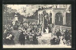 AK Cannes, Corso Carnavalesque 1910, Agreable partie de pache, Les Allumettes, Faschingsumzug