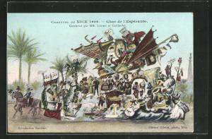 AK Nice, Carnaval 1909, Char de l`Esperanto, Faschingswagen