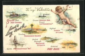 AK Friendship Island, Bachelor Straits, Lights of Love, Amor mit einem Brief, Valentinstag