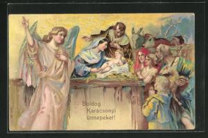 AK Weihnachtsengel bewacht das Christuskind, Weihnachtsgruss
