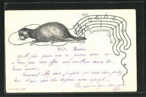 AK Frettchen mit Noten, Lied: Vivo, Il court , il court le furet
