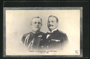AK König und Kronprinz von Portugal in Uniform, Trauerrand 1908